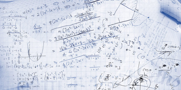 A piece of paper with lots of equations.